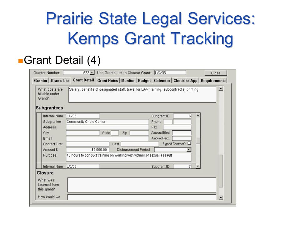 Prairie State Legal Services: Kemps Grant Tracking Grant Detail (4)