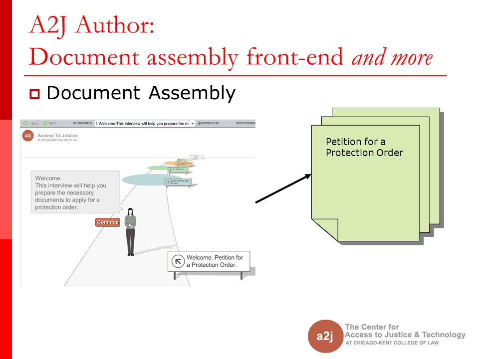A2J Author: Document assembly front-end and more Document Assembly Petition for a Protection Order