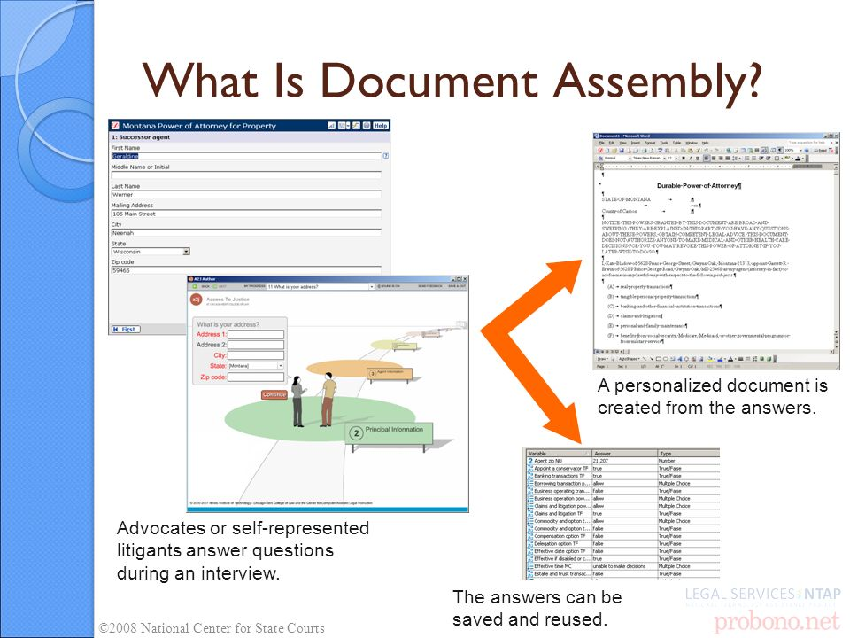 What Is Document Assembly? Advocates or self-represented litigants answer questions during an interview. A personalized document is created from the a