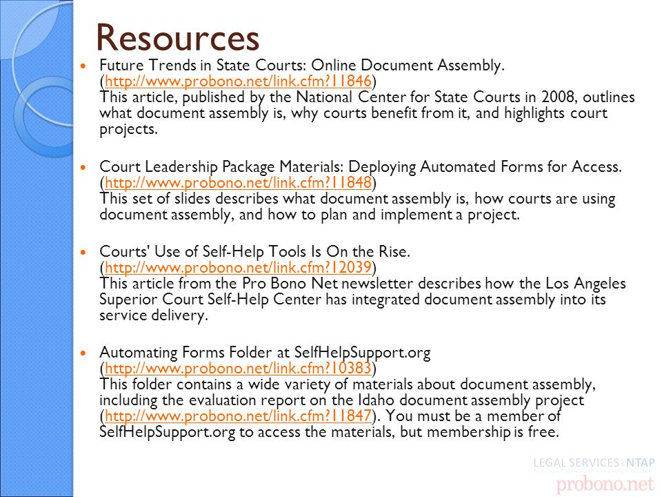 Resources Future Trends in State Courts: Online Document Assembly.