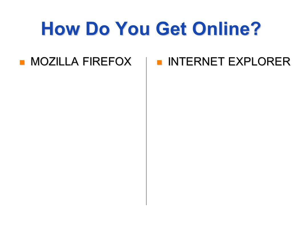 How Do You Get Online MOZILLA FIREFOX MOZILLA FIREFOX INTERNET EXPLORER