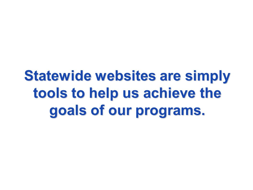Statewide websites are simply tools to help us achieve the goals of our programs.