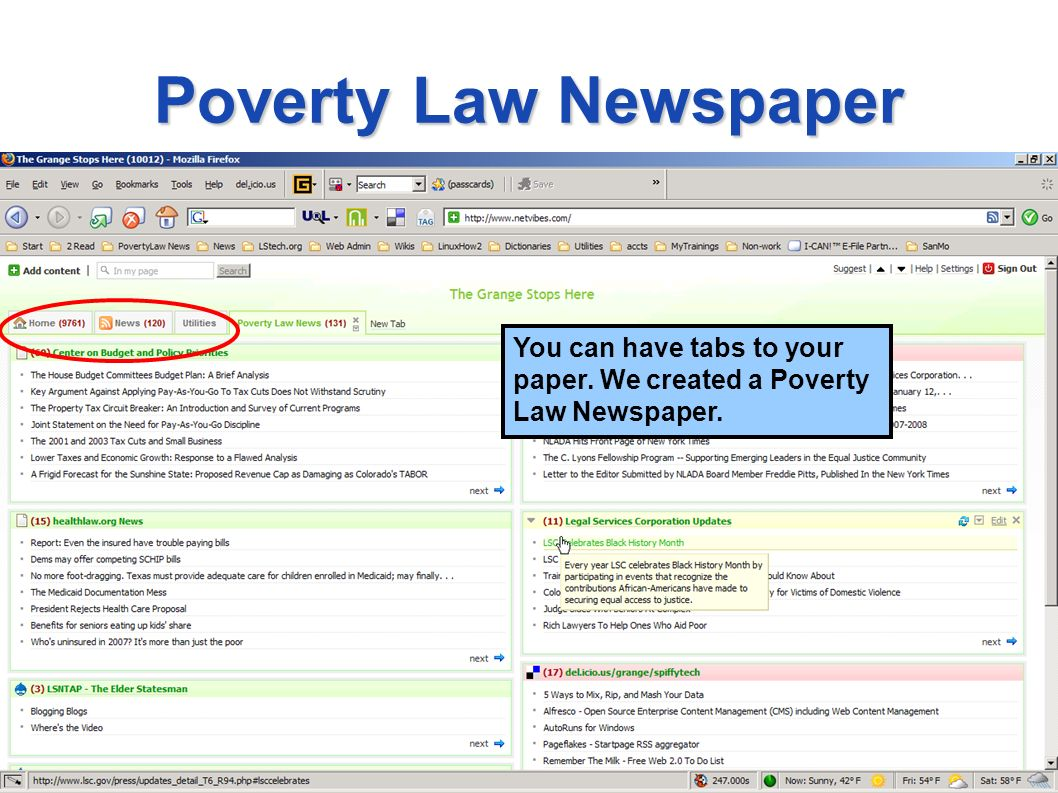 Poverty Law Newspaper You can have tabs to your paper. We created a Poverty Law Newspaper.