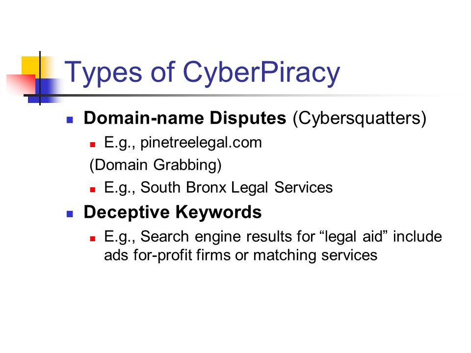 Types of CyberPiracy Domain-name Disputes (Cybersquatters) E.g., pinetreelegal.com (Domain Grabbing) E.g., South Bronx Legal Services Deceptive Keywords E.g., Search engine results for legal aid include ads for-profit firms or matching services