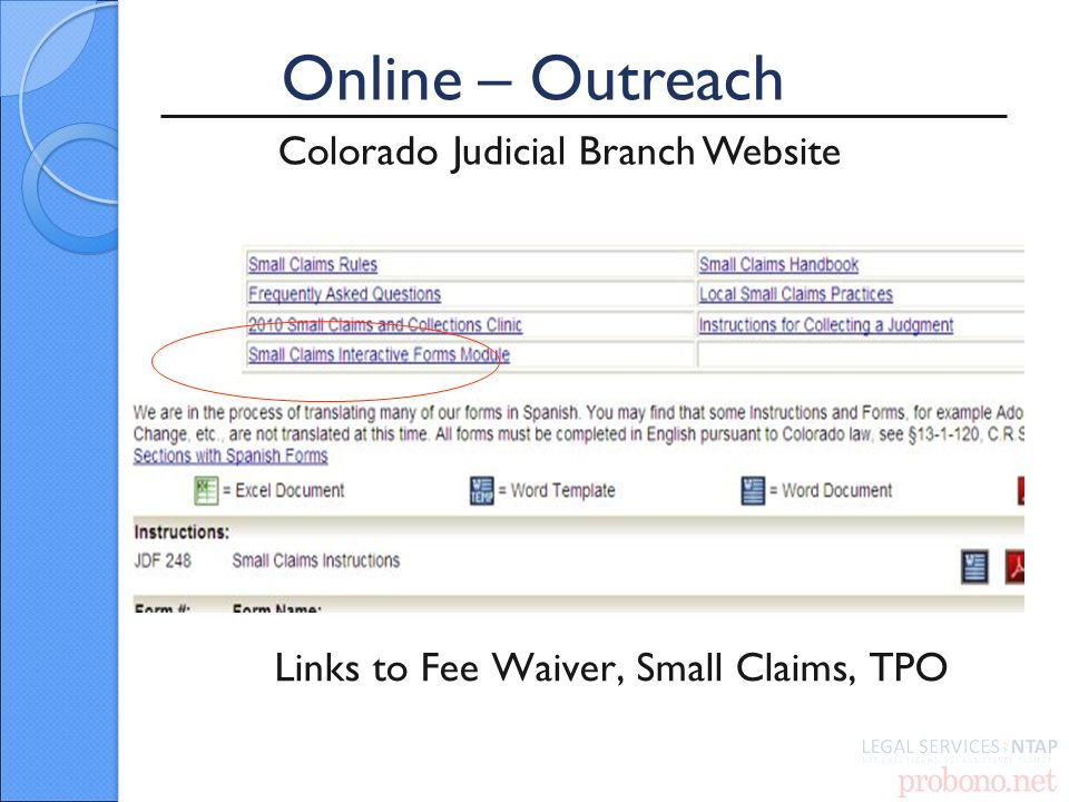 Online – Outreach Colorado Judicial Branch Website Links to Fee Waiver, Small Claims, TPO