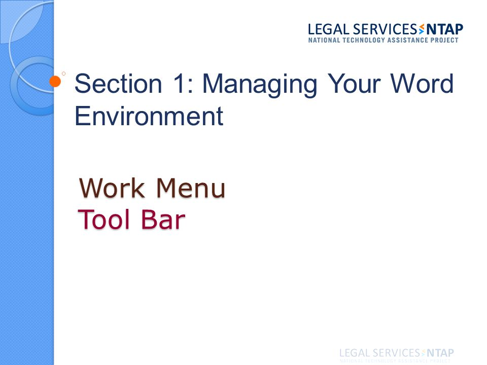 Work Menu Tool Bar Section 1: Managing Your Word Environment