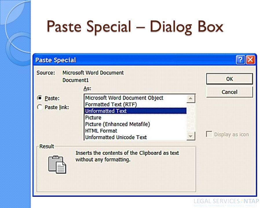 Paste Special – Dialog Box