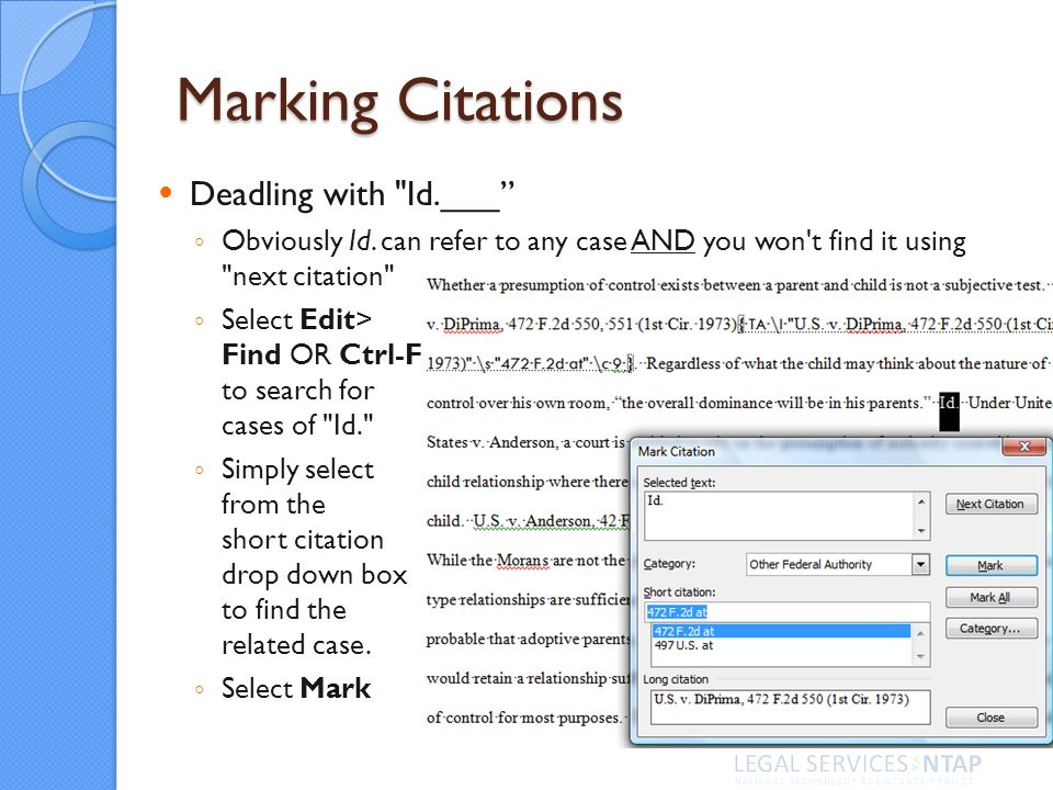 Marking Citations Deadling with Id.___ Obviously Id.