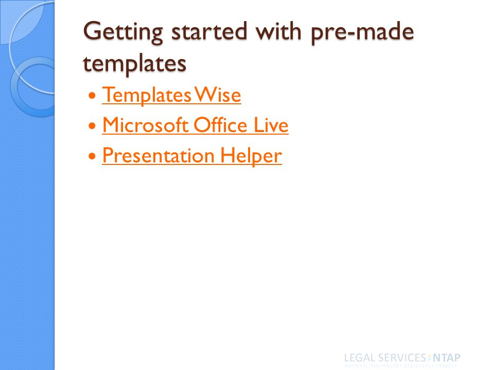 Getting started with pre-made templates Templates Wise Microsoft Office Live Presentation Helper