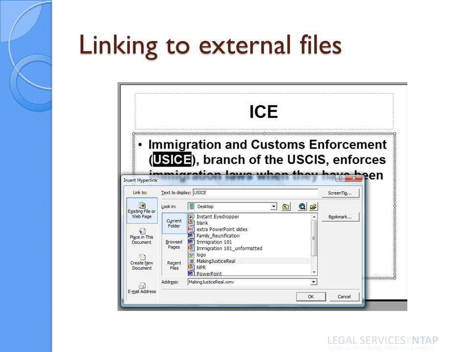 Linking to external files