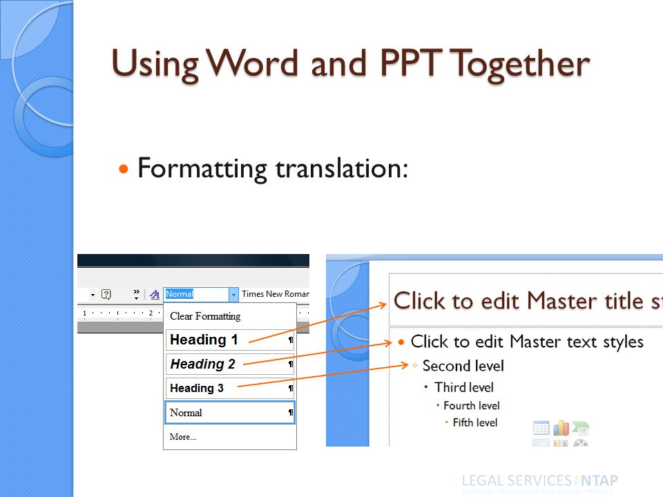 Using Word and PPT Together Formatting translation: