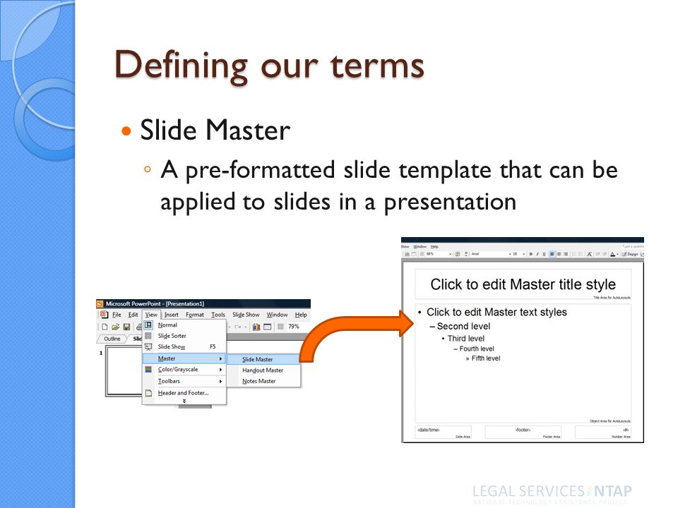 Defining our terms Slide Master A pre-formatted slide template that can be applied to slides in a presentation