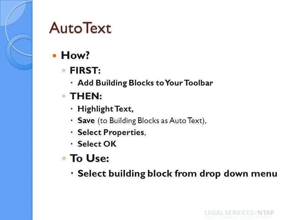 AutoText How.