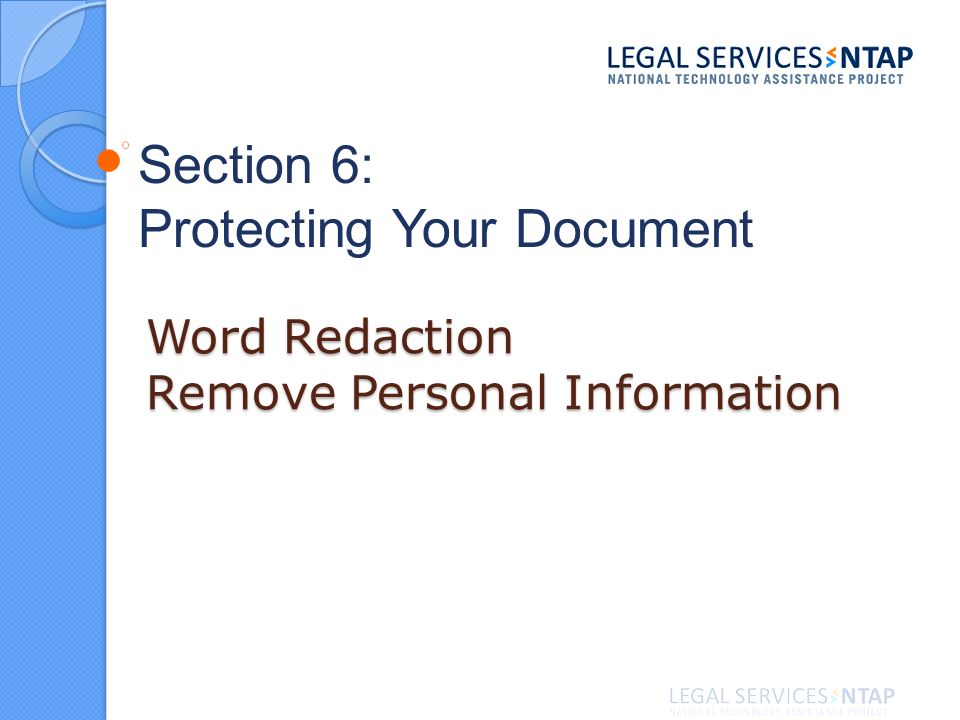Word Redaction Remove Personal Information Section 6: Protecting Your Document