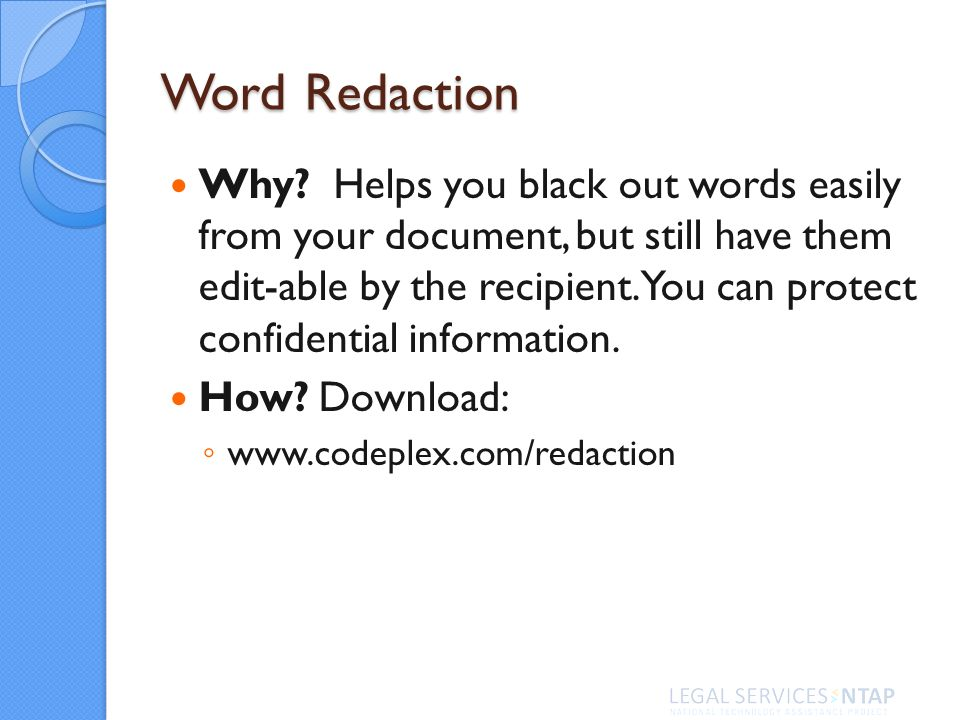 Word Redaction Why.