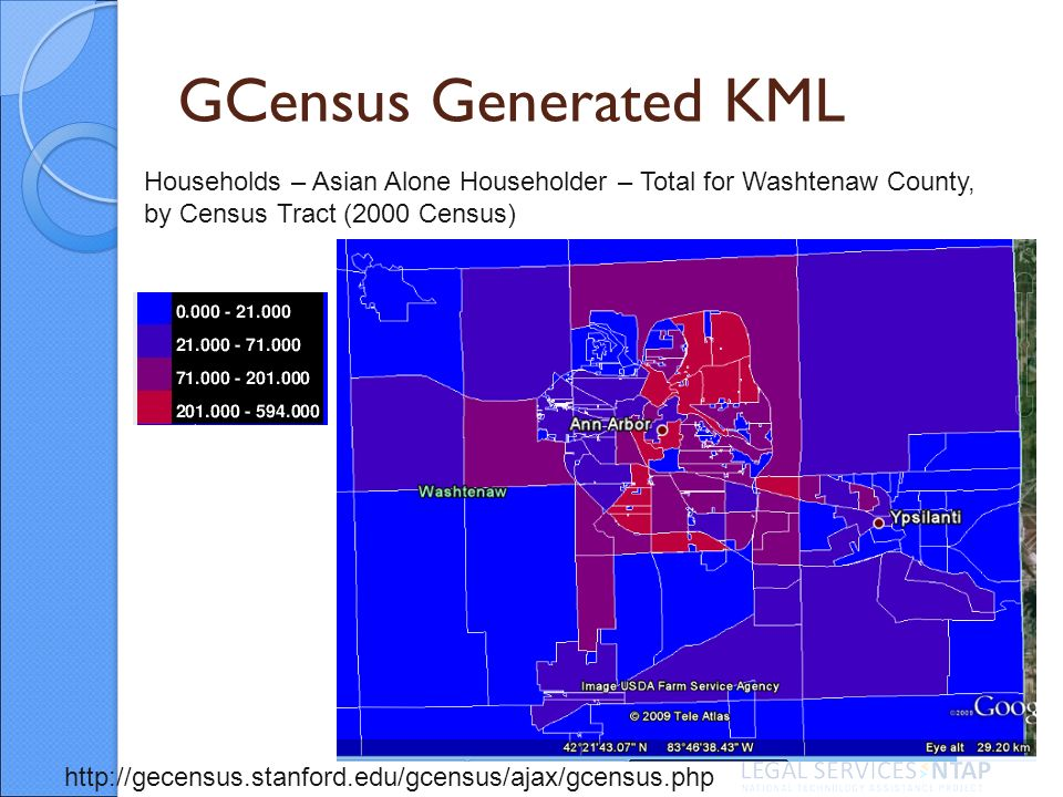 GCensus Generated KML Households – Asian Alone Householder – Total for Washtenaw County, by Census Tract (2000 Census) http://gecensus.stanford.edu/gcensus/ajax/gcensus.php