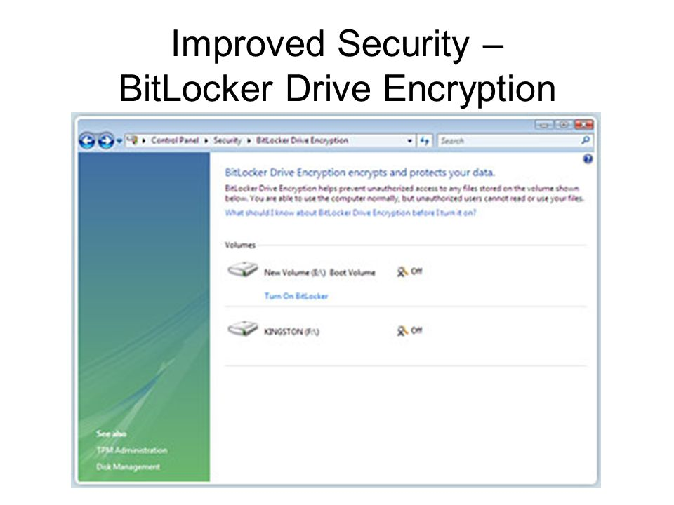 Improved Security – BitLocker Drive Encryption