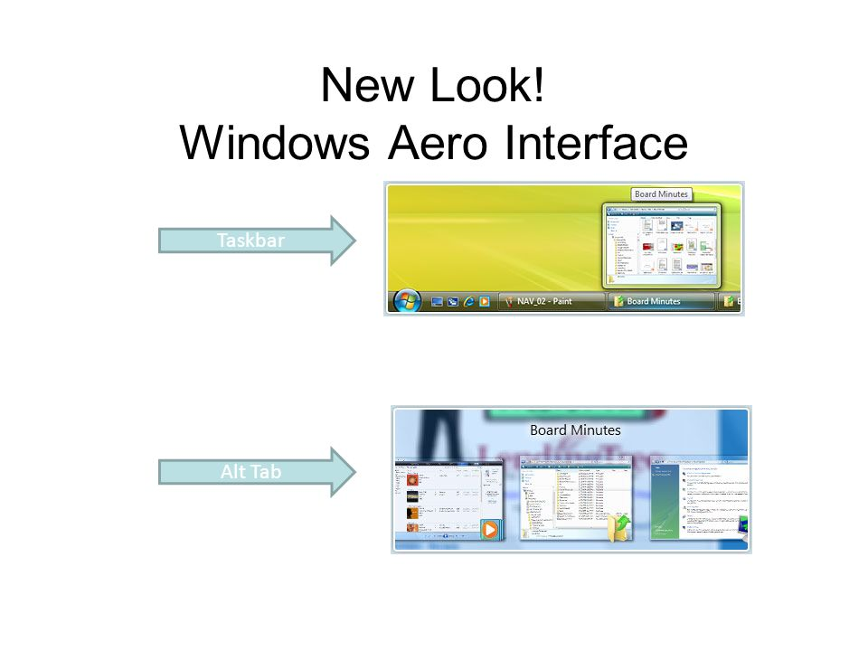 New Look! Windows Aero Interface Taskbar Alt Tab