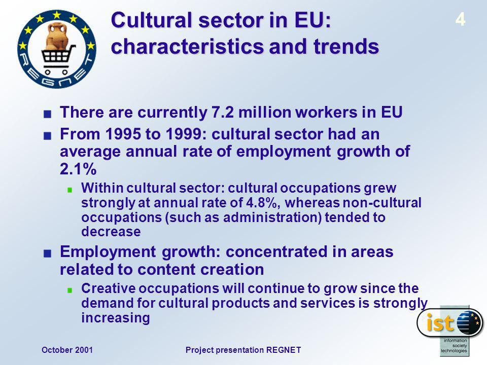 October 2001Project presentation REGNET 4 Cultural sector in EU: characteristics and trends There are currently 7.2 million workers in EU From 1995 to 1999: cultural sector had an average annual rate of employment growth of 2.1% Within cultural sector: cultural occupations grew strongly at annual rate of 4.8%, whereas non-cultural occupations (such as administration) tended to decrease Employment growth: concentrated in areas related to content creation Creative occupations will continue to grow since the demand for cultural products and services is strongly increasing