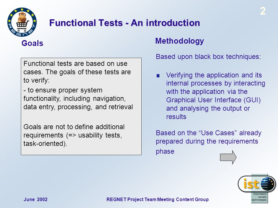 June 2002REGNET Project Team Meeting Content Group 2 Functional tests are based on use cases.