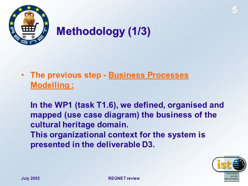 July 2002REGNET review 5 Methodology (1/3) The previous step - Business Processes Modelling : In the WP1 (task T1.6), we defined, organised and mapped (use case diagram) the business of the cultural heritage domain.