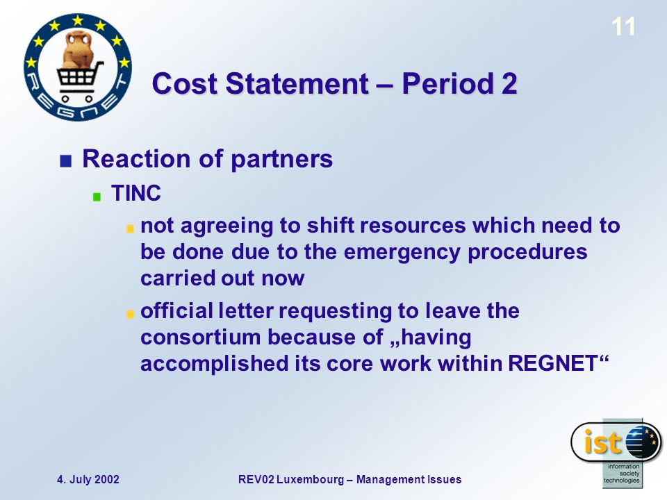 4. July 2002REV02 Luxembourg – Management Issues 11 Cost Statement – Period 2 Reaction of partners TINC not agreeing to shift resources which need to