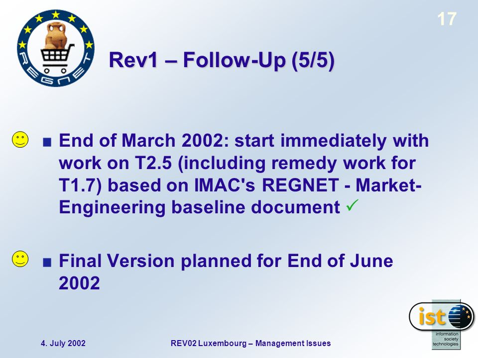 4. July 2002REV02 Luxembourg – Management Issues 17 Rev1 – Follow-Up (5/5) End of March 2002: start immediately with work on T2.5 (including remedy wo
