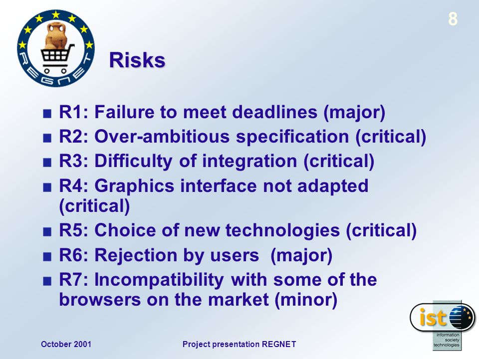 October 2001Project presentation REGNET 8 Risks R1: Failure to meet deadlines (major) R2: Over-ambitious specification (critical) R3: Difficulty of integration (critical) R4: Graphics interface not adapted (critical) R5: Choice of new technologies (critical) R6: Rejection by users (major) R7: Incompatibility with some of the browsers on the market (minor)