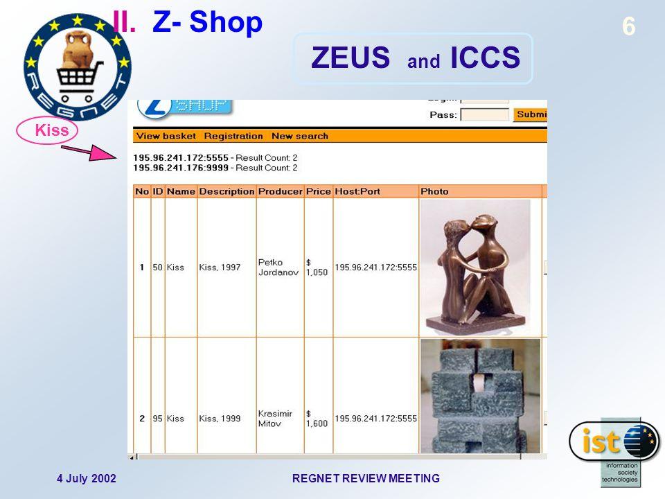 4 July 2002REGNET REVIEW MEETING 7 II. Z- Shop ZEUS and ICCS Landscape