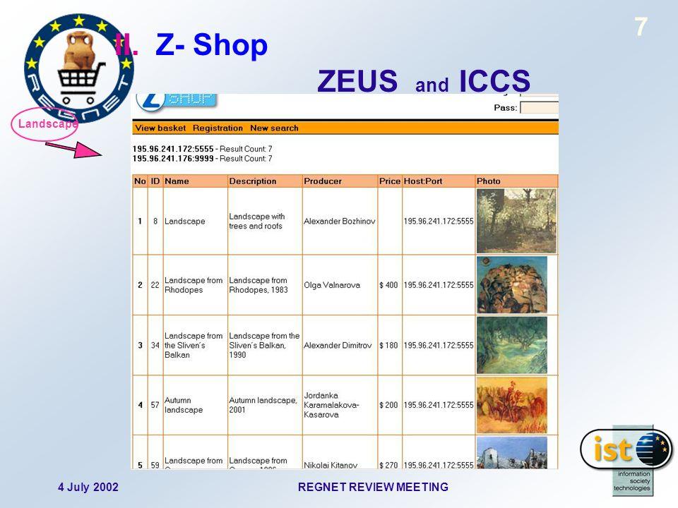 4 July 2002REGNET REVIEW MEETING 8 II. Z- Shop ZEUS and ICCS Life I DB II DB