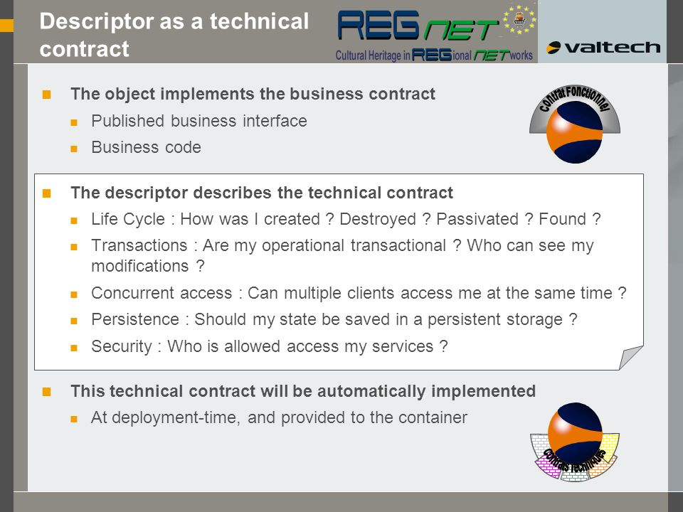 Descriptor as a technical contract The object implements the business contract Published business interface Business code The descriptor describes the technical contract Life Cycle : How was I created .