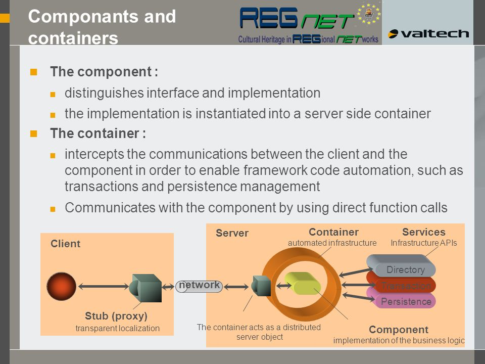 Componants and containers The component : distinguishes interface and implementation the implementation is instantiated into a server side container The container : intercepts the communications between the client and the component in order to enable framework code automation, such as transactions and persistence management Communicates with the component by using direct function calls Client Container automated infrastructure Component implementation of the business logic The container acts as a distributed server object Server network Persistence Transaction Directory Services Infrastructure APIs Stub (proxy) transparent localization