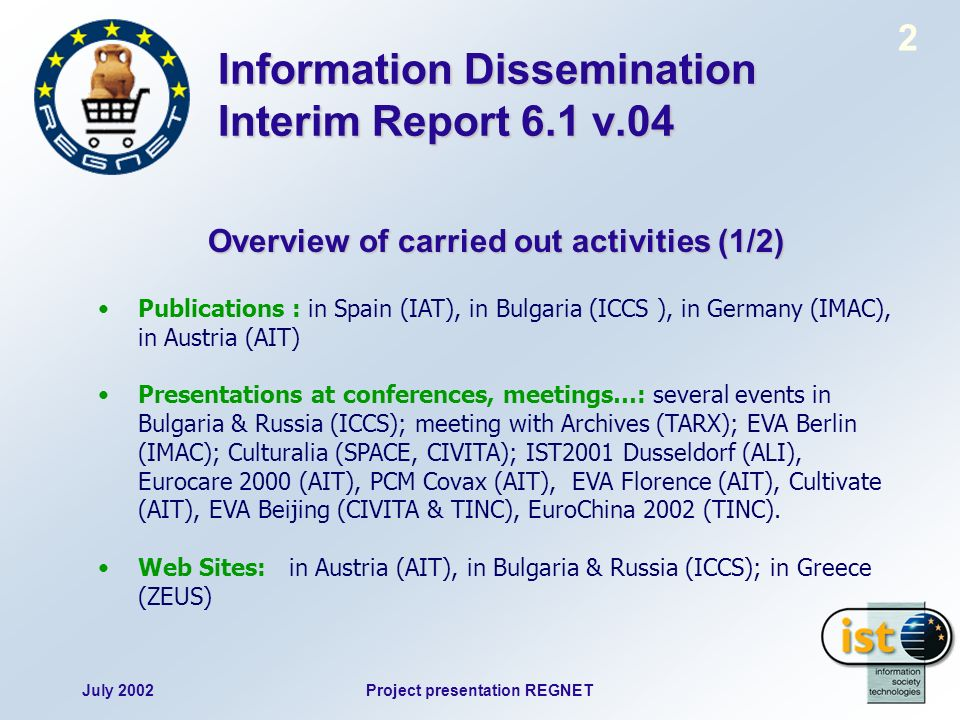 July 2002Project presentation REGNET 2 Information Dissemination Interim Report 6.1 v.04 Overview of carried out activities (1/2) Publications : in Sp