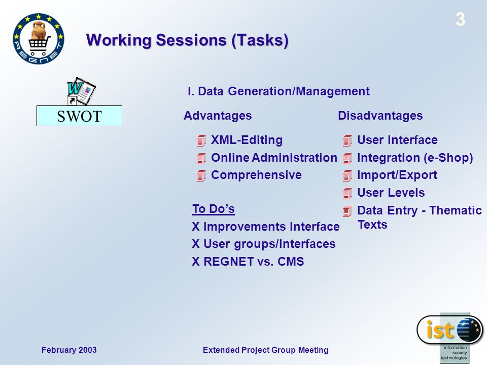 February 2003 3 Extended Project Group Meeting Working Sessions (Tasks) SWOT 4XML-Editing 4Online Administration 4Comprehensive AdvantagesDisadvantage