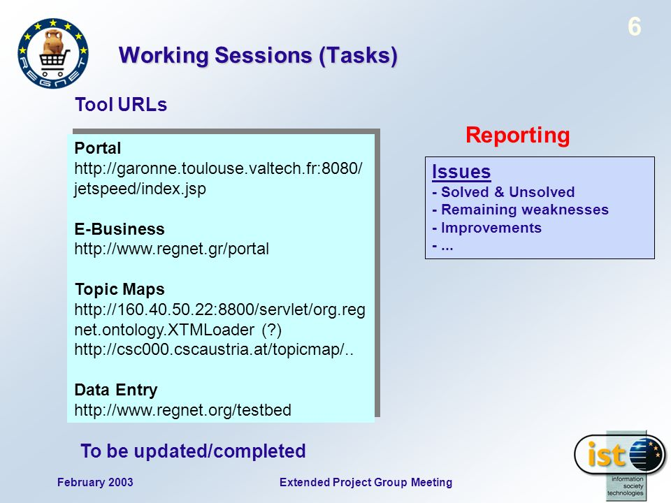 February 2003 6 Extended Project Group Meeting Working Sessions (Tasks) Tool URLs Issues - Solved & Unsolved - Remaining weaknesses - Improvements -..