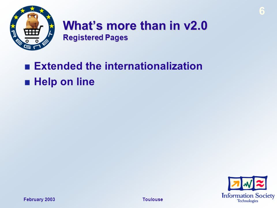 February 2003Toulouse 6 Whats more than in v2.0 Registered Pages Extended the internationalization Help on line
