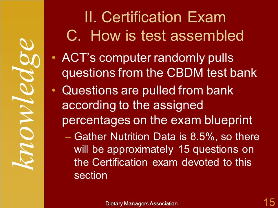 knowledge Dietary Managers Association 15 II. Certification Exam C.