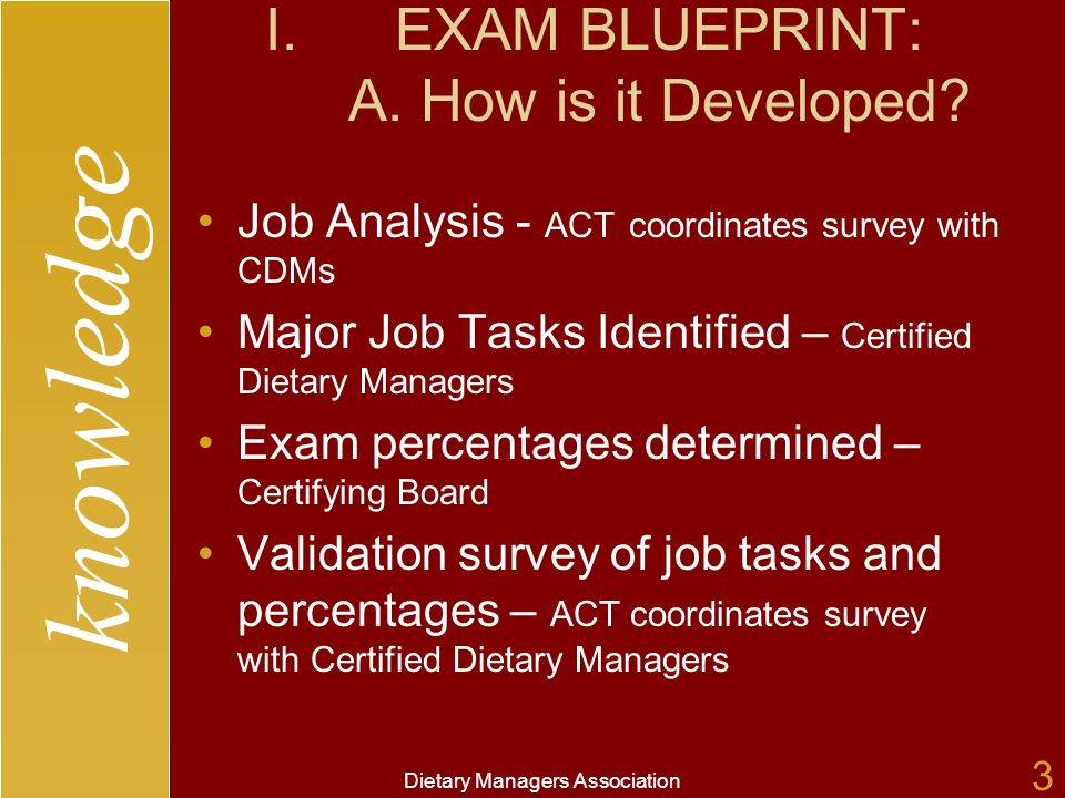 knowledge Dietary Managers Association 3 I.EXAM BLUEPRINT: A.