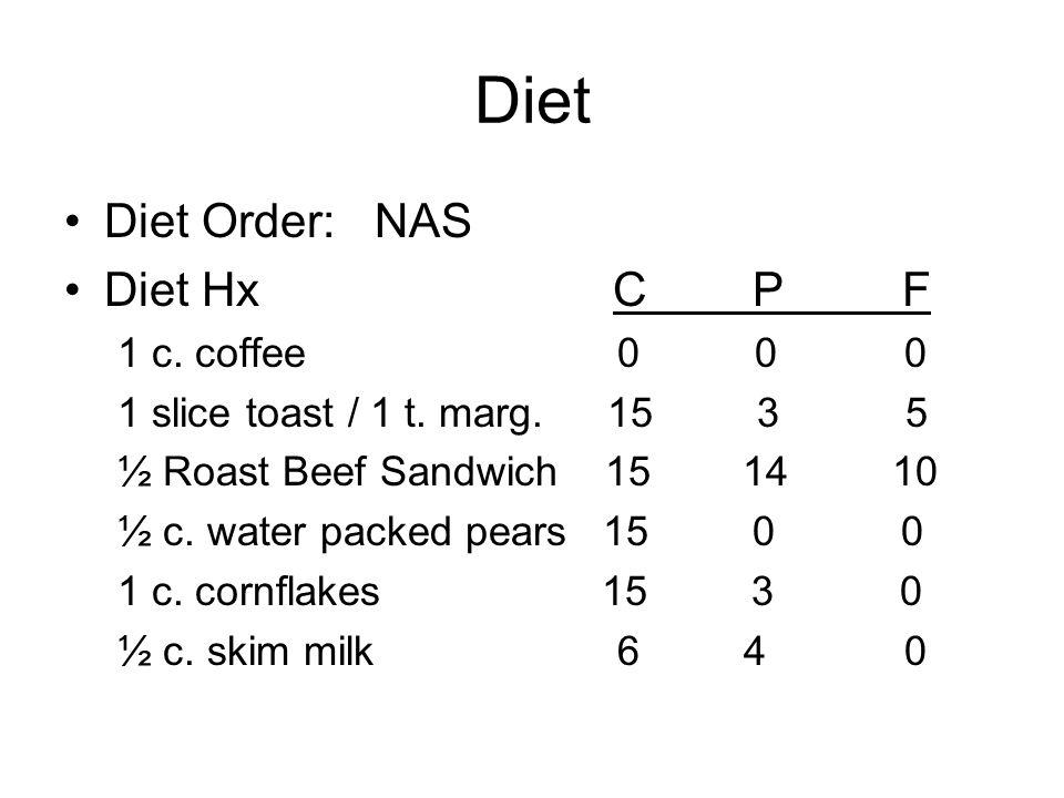 Diet Diet Order: NAS Diet Hx C P F 1 c. coffee 0 0 0 1 slice toast / 1 t. marg. 15 3 5 ½ Roast Beef Sandwich 15 14 10 ½ c. water packed pears 15 0 0 1