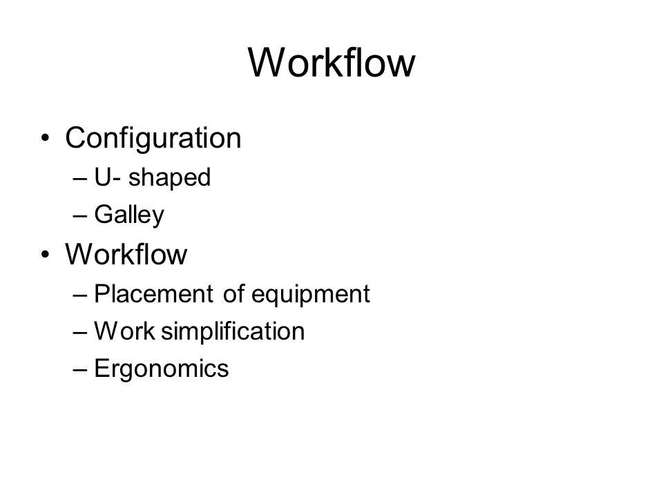 Workflow Configuration –U- shaped –Galley Workflow –Placement of equipment –Work simplification –Ergonomics