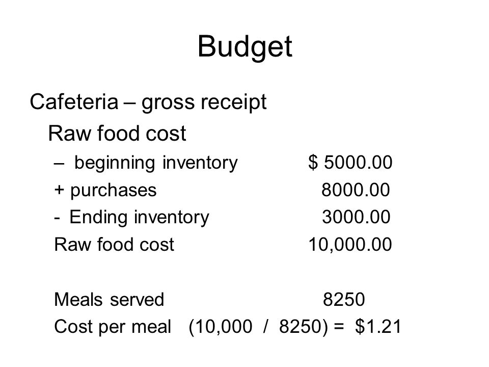 Budget Cafeteria – gross receipt Raw food cost – beginning inventory $ 5000.00 + purchases 8000.00 -Ending inventory 3000.00 Raw food cost 10,000.00 M