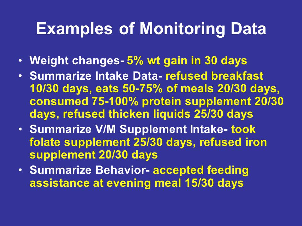 Examples of Monitoring Data Weight changes- 5% wt gain in 30 days Summarize Intake Data- refused breakfast 10/30 days, eats 50-75% of meals 20/30 days