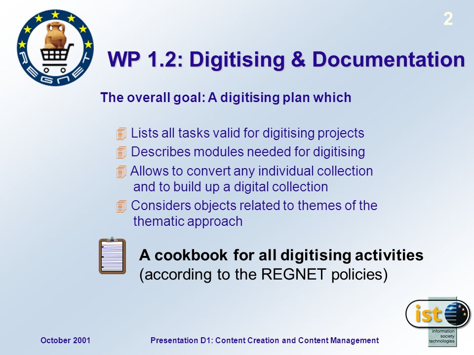 October 2001Presentation D1: Content Creation and Content Management 2 WP 1.2: Digitising & Documentation Lists all tasks valid for digitising project