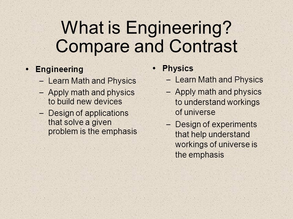 What is Engineering? Compare and Contrast Engineering – Learn Math and Physics – Apply math and physics to build new devices – Design of applications
