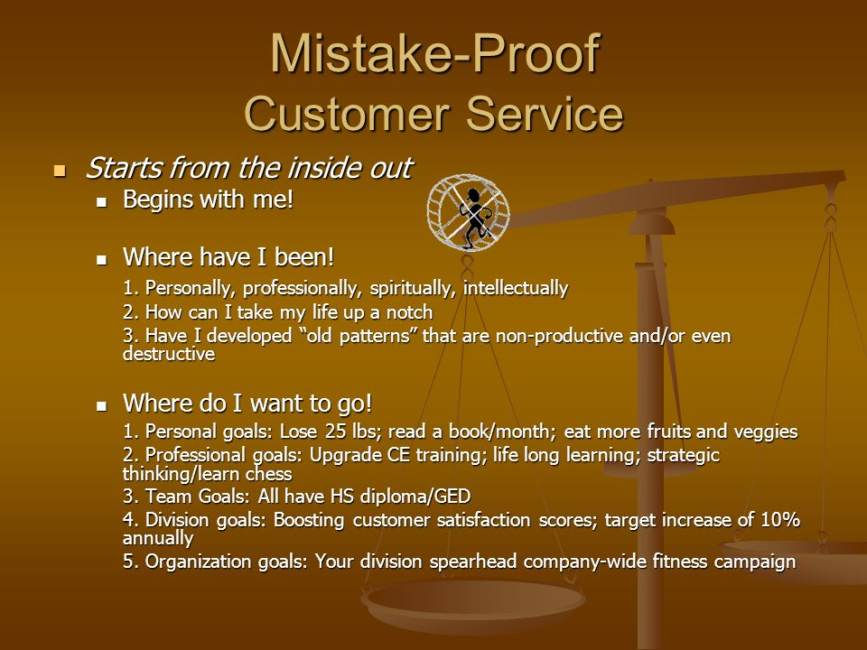 Mistake-Proof Customer Service Starts from the inside out Starts from the inside out Begins with me.