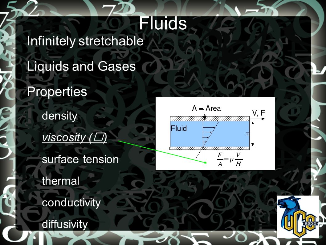 Fluids Infinitely stretchable Liquids and Gases Properties density viscosity () surface tension thermal conductivity diffusivity