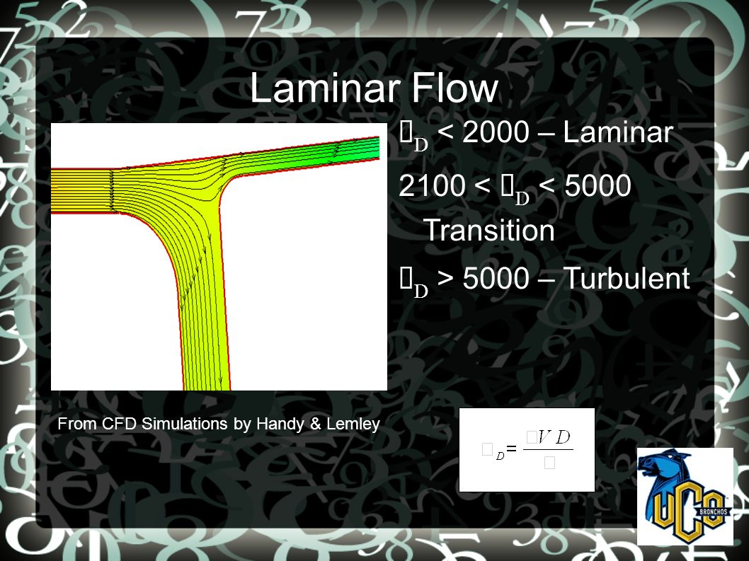 D < 2000 – Laminar 2100 < D < 5000 Transition D > 5000 – Turbulent Laminar Flow From CFD Simulations by Handy & Lemley