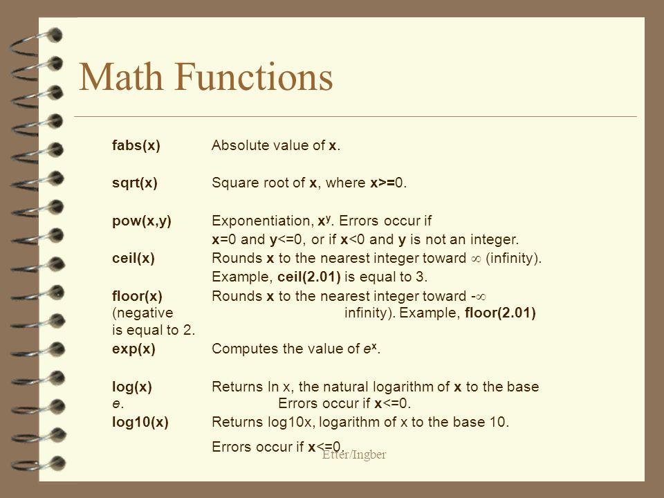 Etter/Ingber Library Functions