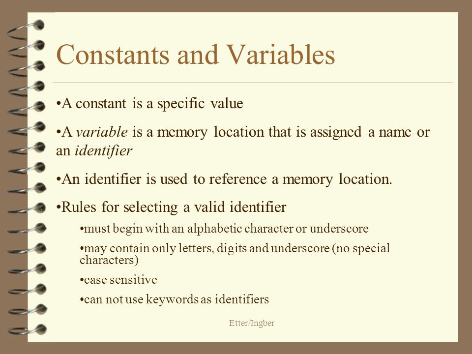 Etter/Ingber Constants and Variables