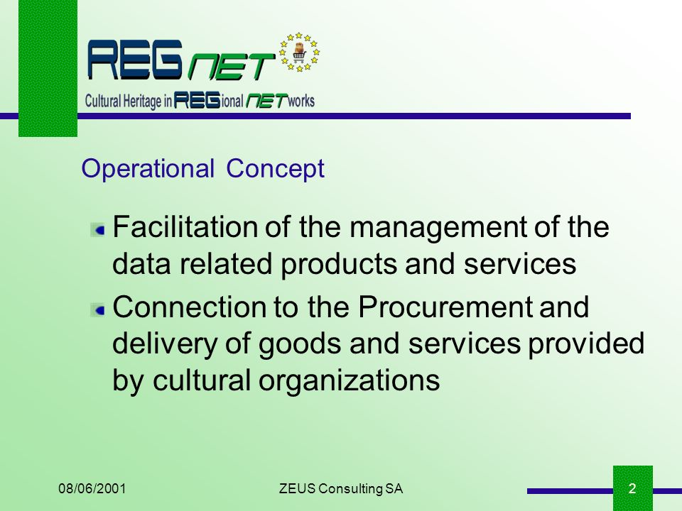 08/06/2001ZEUS Consulting SA2 Operational Concept Facilitation of the management of the data related products and services Connection to the Procurement and delivery of goods and services provided by cultural organizations
